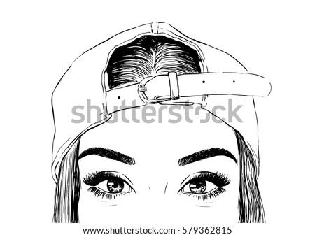 Woman Wearing Cap Backwards Stock Vector 579362815 - Shutterstock