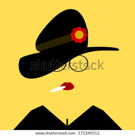 woman wearing floppy hat with flower and smoking - stock vector