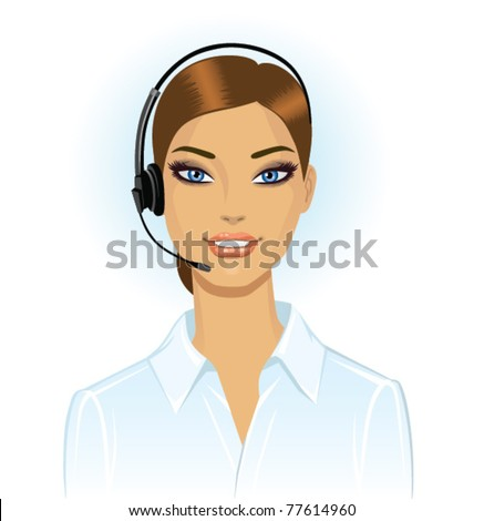 Woman wearing headset in office, receptionist, operator - stock vector