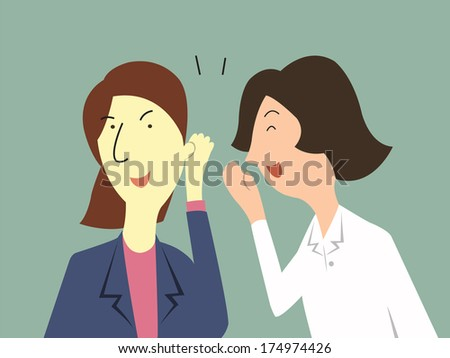 Woman whispers to her colleague in office about gossip, rumor, or secrets.  - stock vector