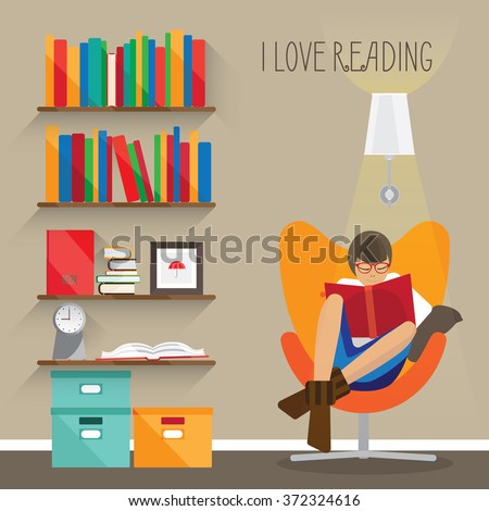 Woman who really loves reading is sitting in the armchair. She is enjoying a book. There are many colourful boxes, bookshelves, pictures and books. She must be in the library or in her room. - stock vector
