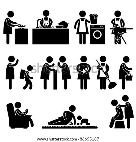 Woman Wife Mother Daily Routine People Icon Sign Symbol Pictogram - stock vector