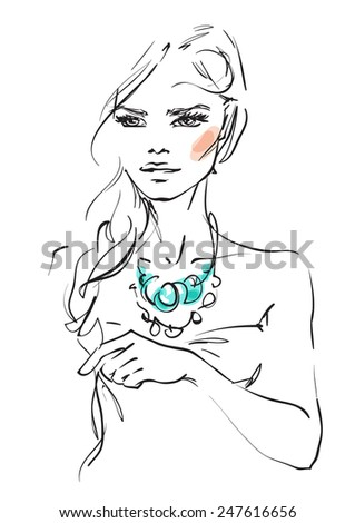 Woman with a braid - stock vector