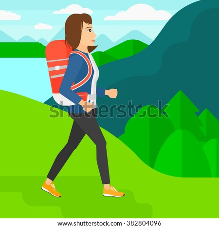 Woman with backpack hiking. - stock vector