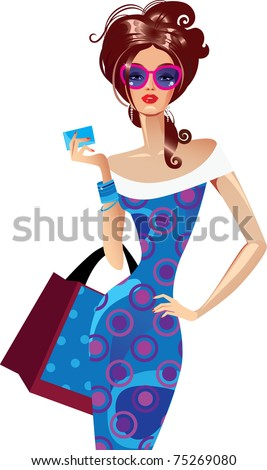 woman with bag - stock vector
