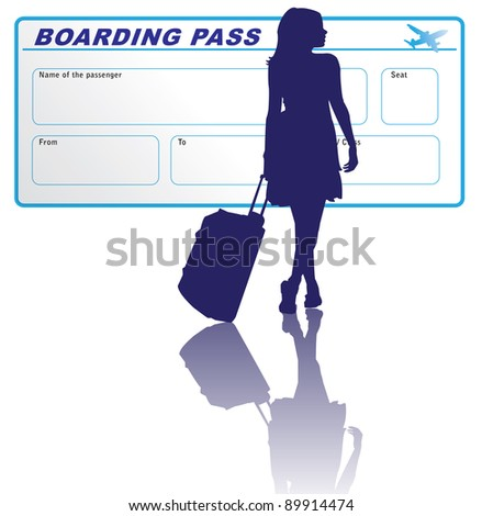 Woman with boarding pass - stock vector