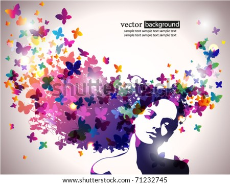 Woman with butterfly. - stock vector