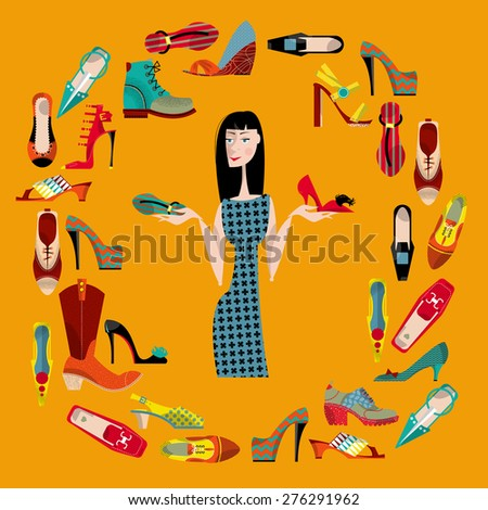 Woman with collection of  shoes. Shopping Time. Vector illustration - stock vector