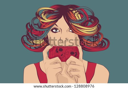 Woman with colorful hair sending text message on her cell phone - stock vector