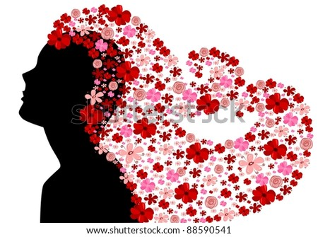 Woman with floral hair - stock vector