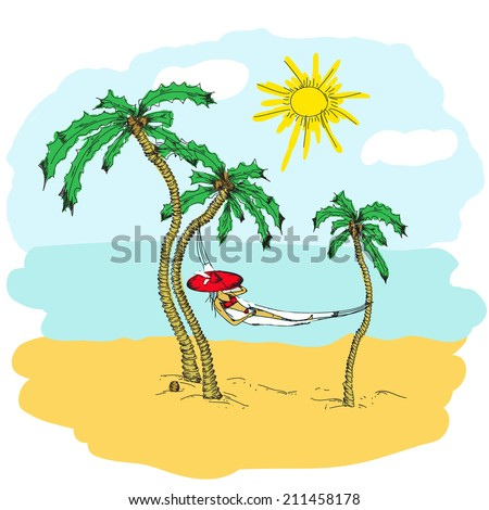 Woman With Hat Lying In A Hammock Illustration Doodle