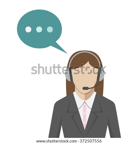 Woman with headphones in call center, flat style. Technical support operator portrait with headset and speech bubble. EPS 8 vector illustration, no transparency - stock vector