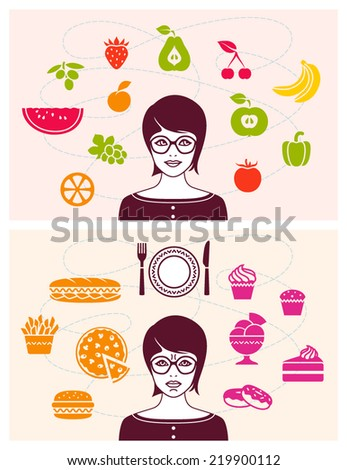 Woman with healthy and unhealthy food - stock vector
