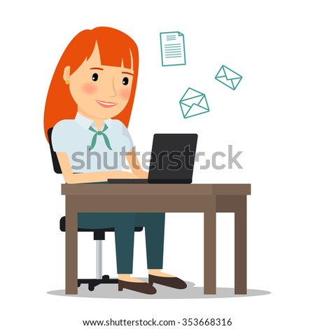 Woman with laptop computer sending email or working online. Vector illustration. - stock vector