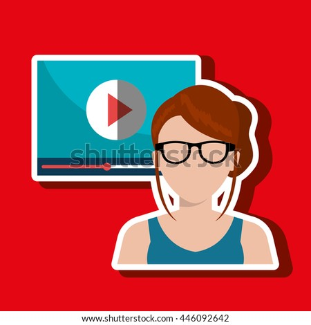 woman  with  media player template isolated icon design, vector illustration  graphic  - stock vector