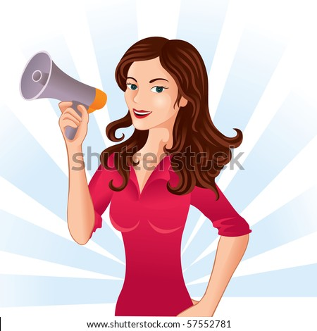 woman with megaphone - stock vector