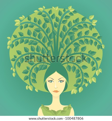Woman with miniature tree growing from her hairs - stock vector