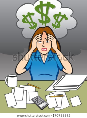Woman with Money Problems - Illustration - stock vector