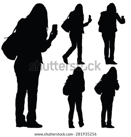 woman with phone vector silhouette - stock vector