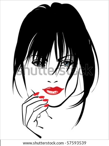 Woman with red lips and red nails - stock vector