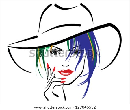 woman with red lips and red nails wearing hat - stock vector