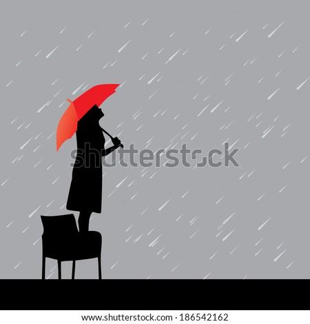 woman with red umbrella under rain vector illustration - stock vector