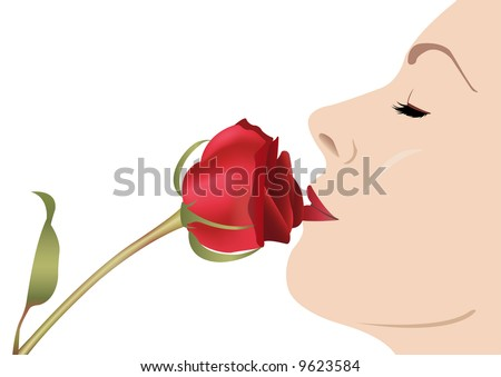 woman with rose vector - stock vector