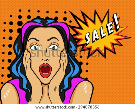 Woman with Sale sign. Vector illustration in pop art style. - stock vector
