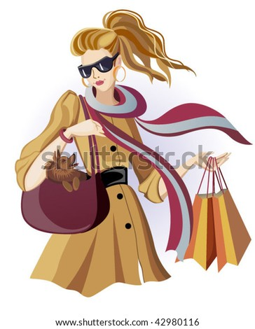 Woman with shopping bags - stock vector