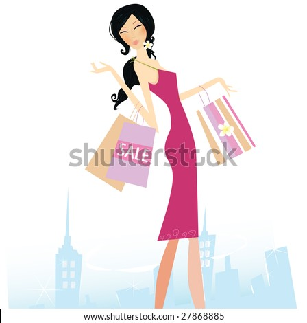 Woman with shopping bags in town. - stock vector