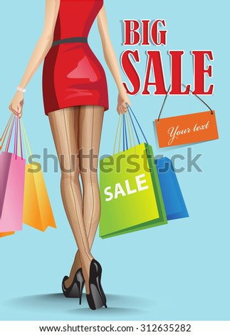 woman with shopping bags Vector  - stock vector
