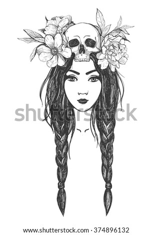 Woman with skull, flowers. Tattoo art, coloring books. Hand drawn vector illustration Isolated on white background. - stock vector