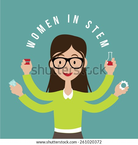 Woman with STEM icons flat design. EPS10 vector illustration for advertising, promotion, poster, flier, blog, article, social media, marketing, education - stock vector