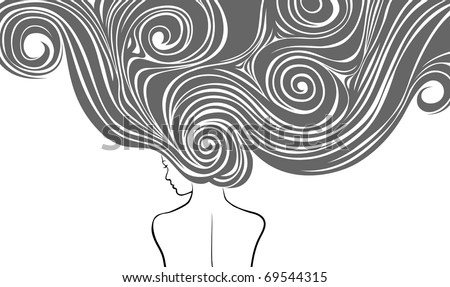 Woman with styling very long hairs - stock vector
