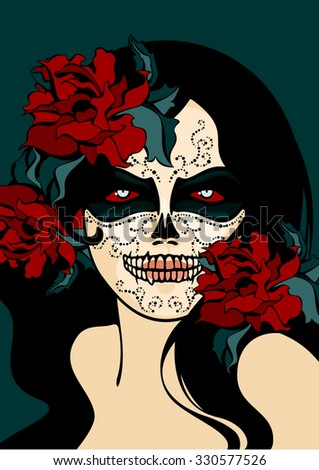Woman with sugar skull face paint - stock vector