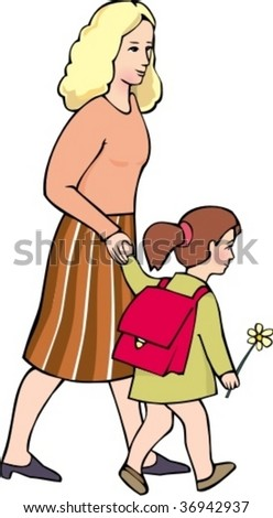 Woman with young girl are going to school