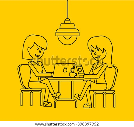 Woman work with laptop and smartphone. Woman and work, business woman work with smartphone, work with laptop, business phone, work technology mobile, working businesswoman with device illustration - stock vector