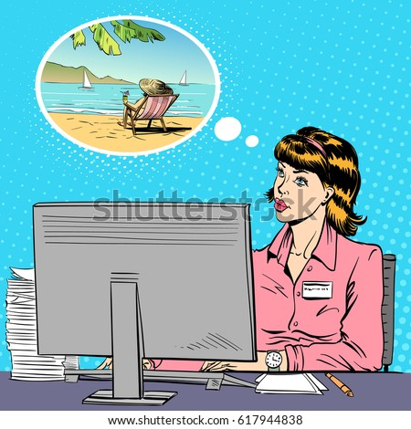 Woman Working Computer Office Dreaming Vacation Stock Vector 617944838