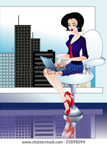 woman working at laptop in vector - stock vector