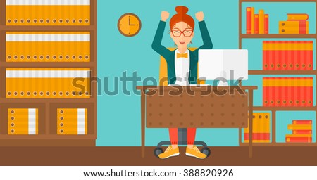 Woman working at office. - stock vector