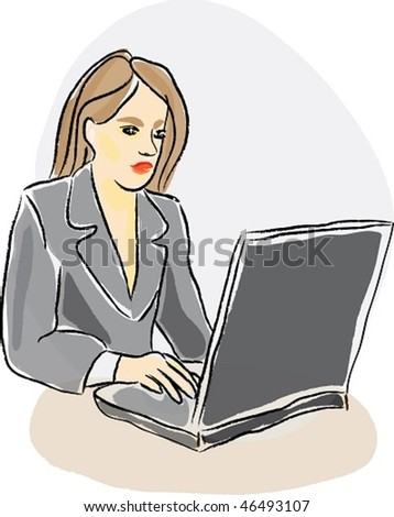 Woman working with a notebook
