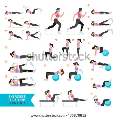 Woman workout fitness, aerobic and exercises. Vector Illustration. - stock vector
