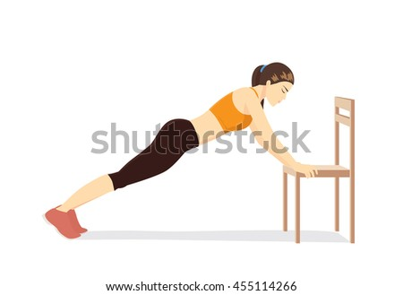 Woman workout with chair. Illustration about healthy even though no time. - stock vector