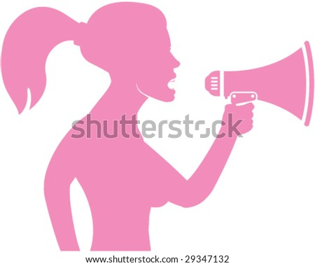 Woman yelling in Megaphone - stock vector