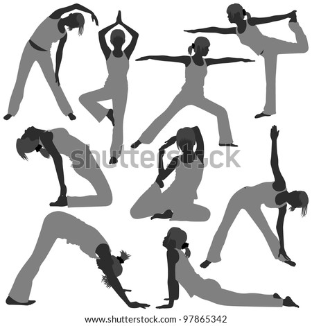 Woman Yoga Exercise Poses Stretch Fitness Healthy Lifestyle - stock vector