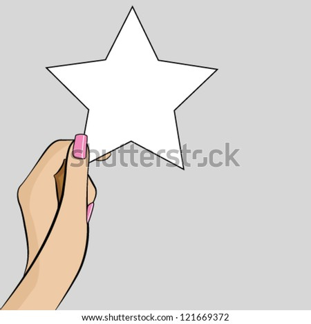 Womans hand holding a piece of paper in the shape of a star - stock vector