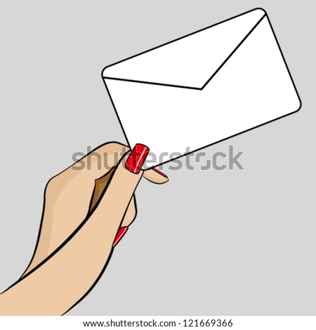 Womans hand holding an envelope - stock vector
