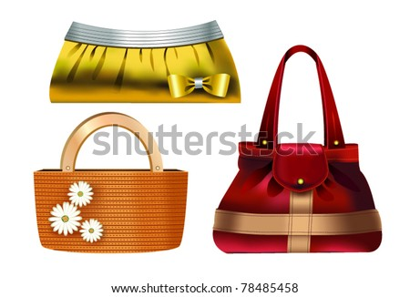 Women accessories – 3 designer handbags made of various materials - stock vector
