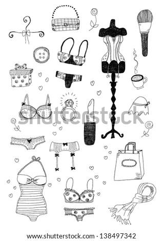 Women Accessories Set - stock vector
