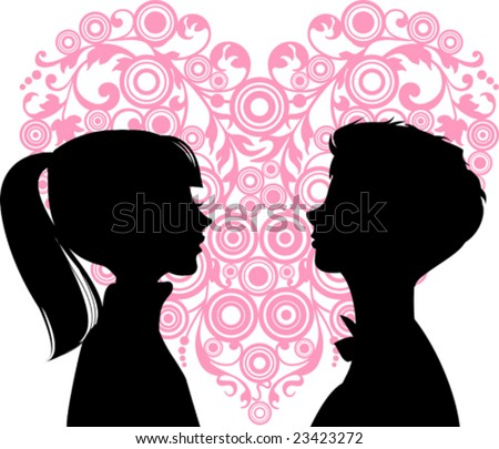 Women and men loving each other and heart between them. Ideal for dating services or valentine day. Vector images scale to any size